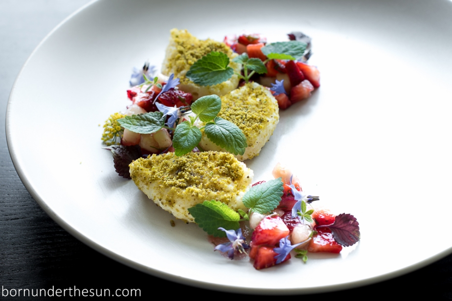 Farmer's cheese dumpling and strawberry textures