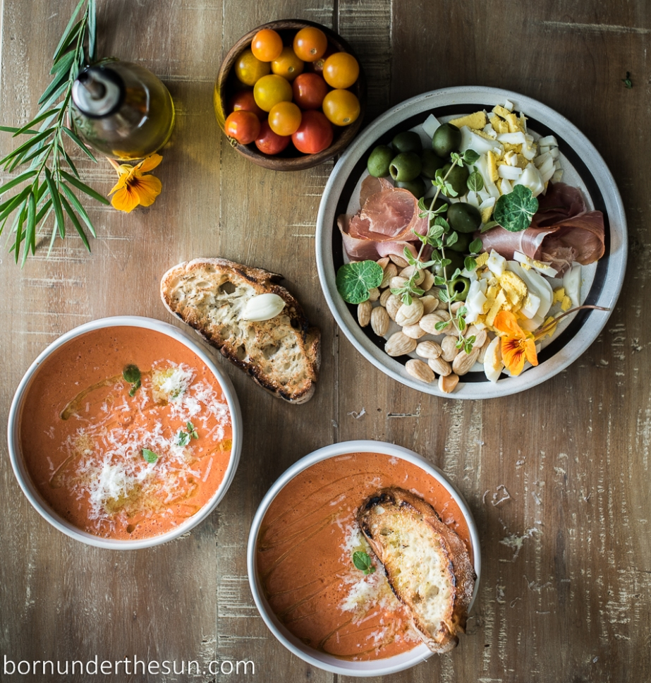 Smoky tomato gazpacho with condiments