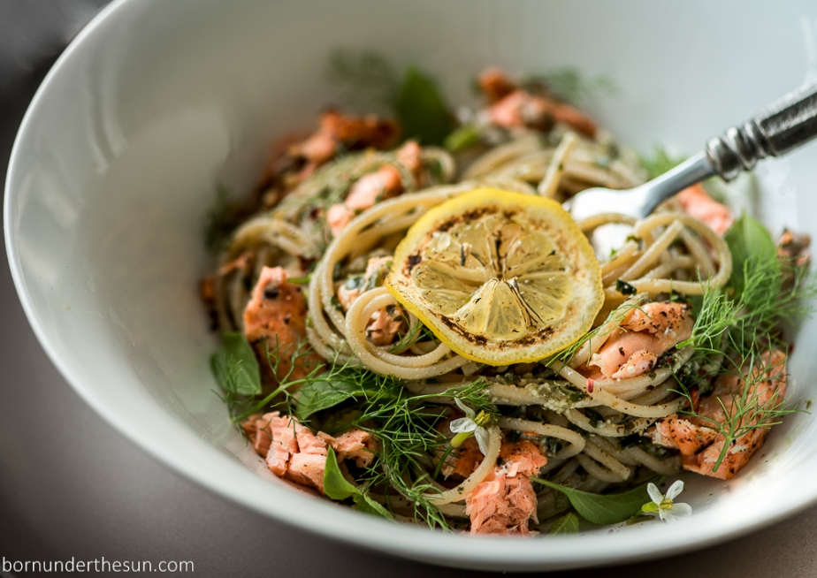 Lemon basil pasta with baked salmon