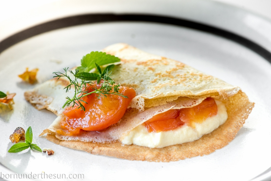 Ricotta and peach crepes