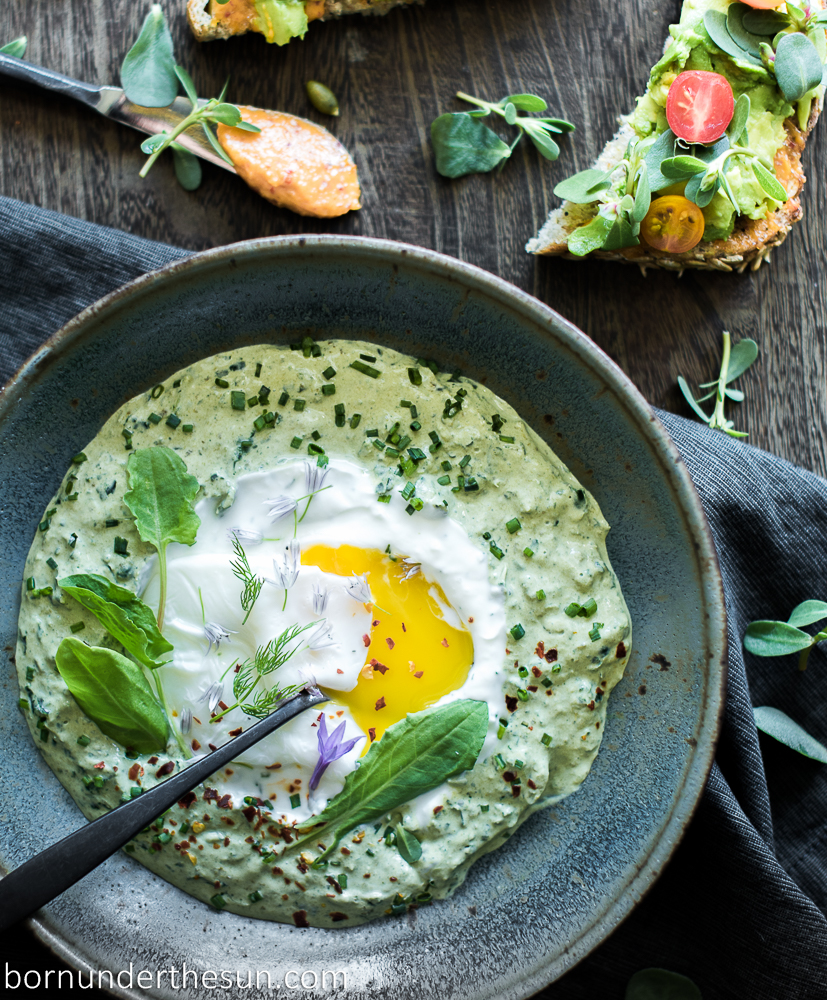 Creamed sorrel and kale Turkish egg