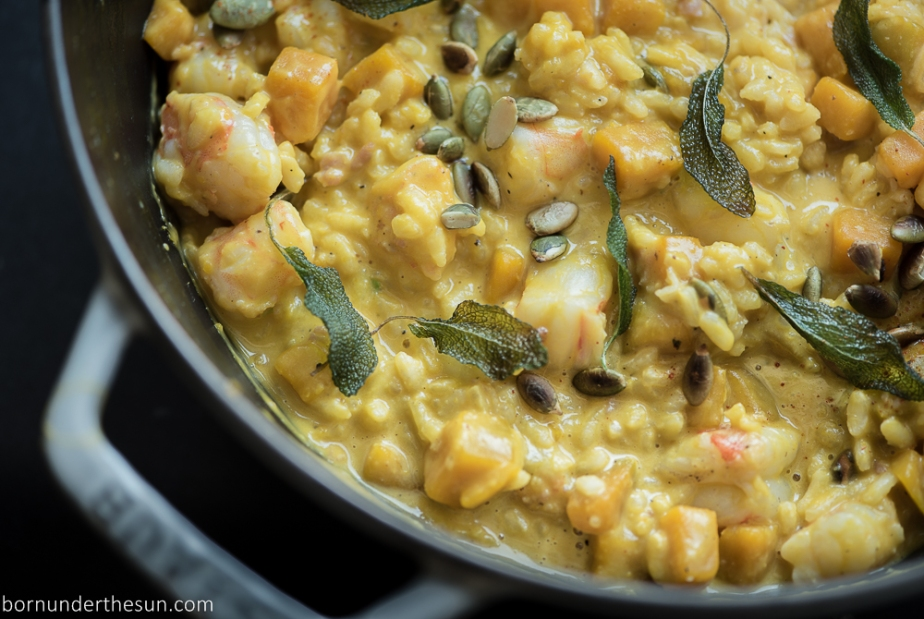 Kabocha and shrimp risotto with toasted pumpkin seeds