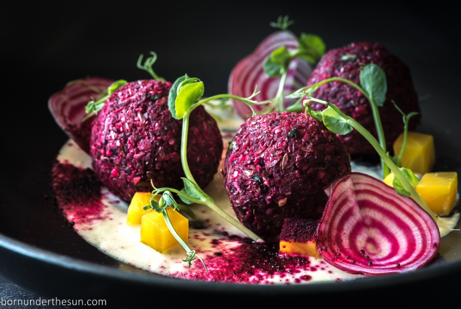 Beet and sprouted lentil falafel
