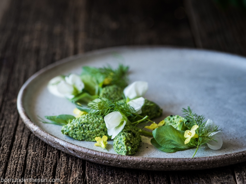Pea And Stinging Nettle Gnudi With A Braised Fennel Almond
