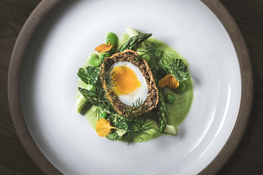 Spring time fava and garbanzo scotch egg